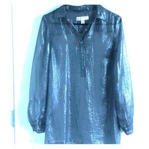 Michael Kors Metallic Silver Blouse- XS